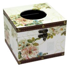 Floral Square Wooden Tissue Box