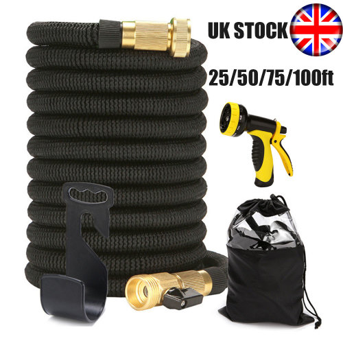 UK Stock! Expandable Garden Hose Pipe with 9 Function Spray Gun, Lightweight Magic Expanding Hose of Multiple Sizes, Black
