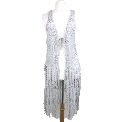 Grey crochet waistcoat with tassels Festival, Hippy, 70s UK 8-14