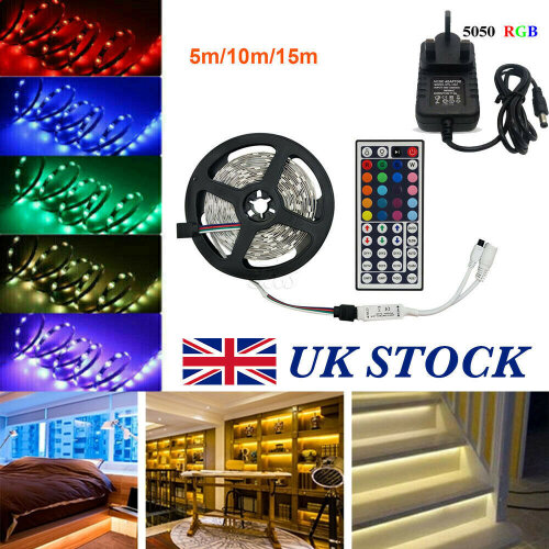 (5M 300LED) 5/10/15M 5050 RGB LED Strip Lights Waterproof IR Controller Xmas