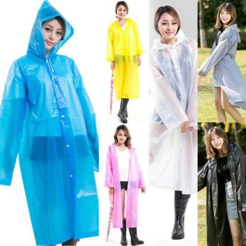 Unisex Adults Outdoor Waterproof Raincoat Reusable Clear Long Rain Coat Poncho