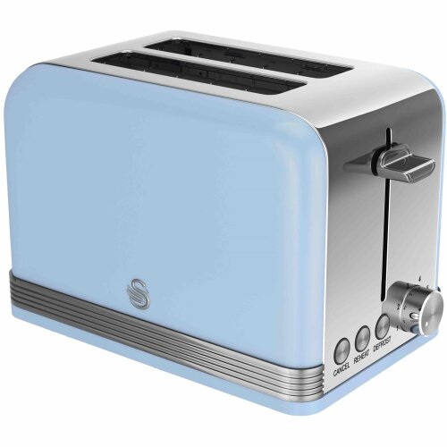 Swan 2 Slice Retro Blue Toaster