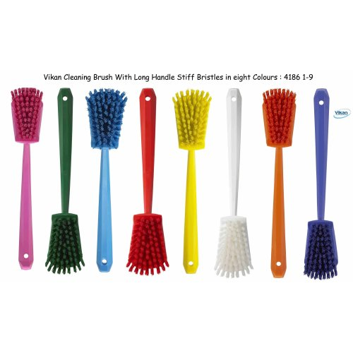 Vikan 4186 Long Handle Scrubbing Brush Stiff Bristles Bath Shower Scrub Floors