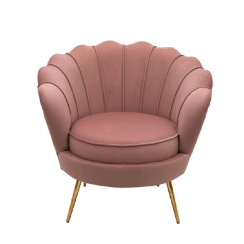 (Pink) Groundlevel Velvet Scallop Chair | Wooden Shell Chair