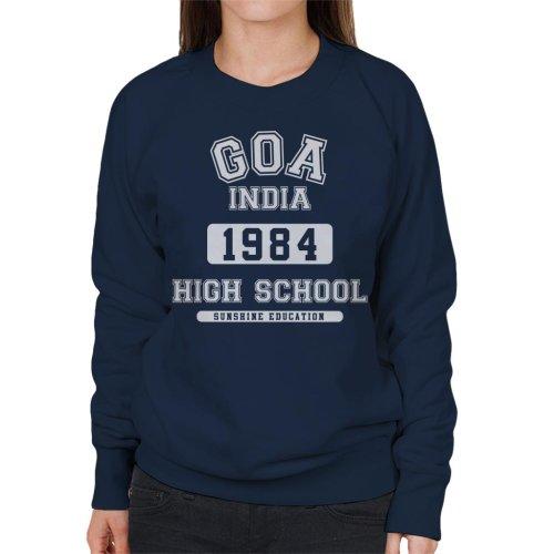(Small, Navy Blue) Goa India High School Women's Sweatshirt