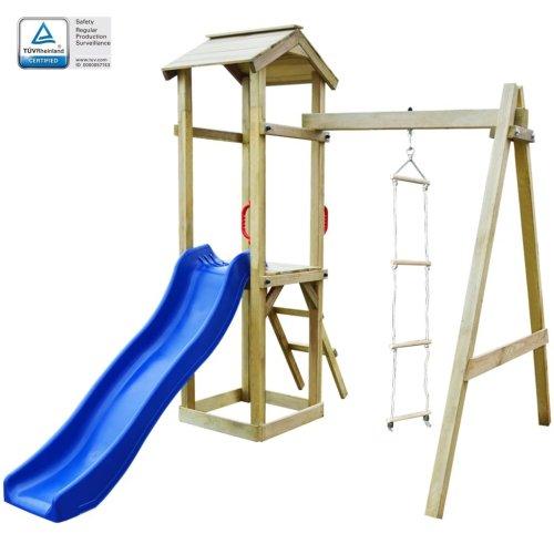 vidaXL Playhouse Set with Slide Ladders 237x168x218cm Wood Activity Centre