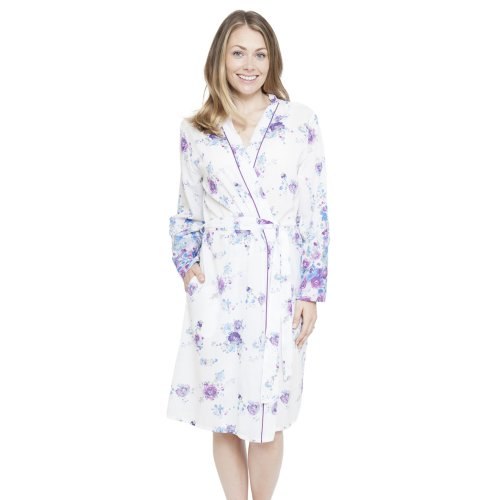 (White, 8) Cyberjammies 4098 Women's Andrea White Floral Print Dressing Gown Loungewear Bath Robe Kimono