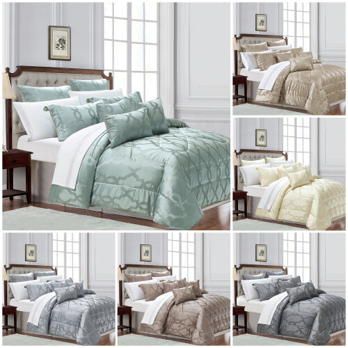 3 Piece Quilted Bedspread Bed Throw Double King