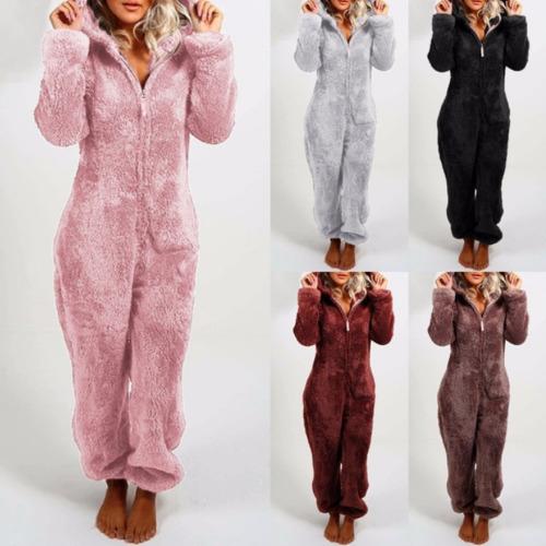 (Brown, M) Ladies Solid Color Plus Fleece Plush Jumpsuit Pyjamas