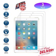 (3 Pack) Ultra Clear 9H Hard Anti Fingerprint Anti Shatter Scratch Resistant HD Tempered Glass Screen Protector for Apple iPad Pro 10.5 inch (2017)