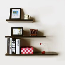 Perfect 3 Pcs High Floating Wooden Wall Mounted Shelf Display Storage Rack Decor
