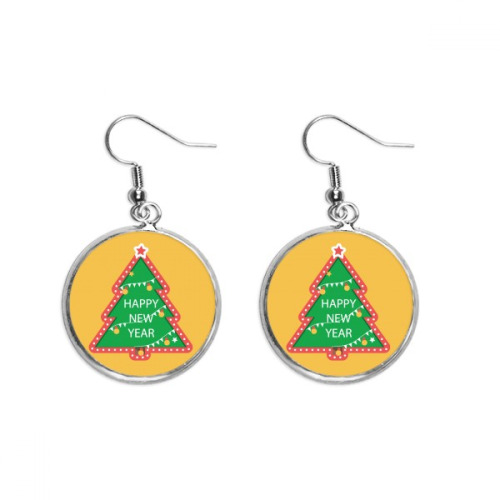 Merry Christmas Tree Cartoon Portrait Ear Dangle Silver Drop Earring Jewelry Woman