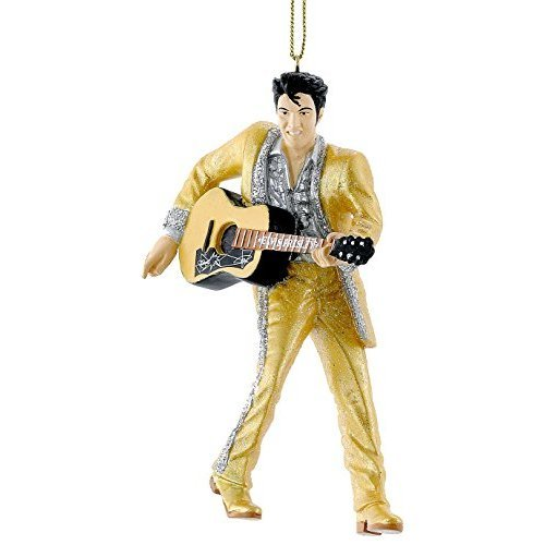 Elvis Presley in Gold Suit Holding Guitar Christmas Ornament