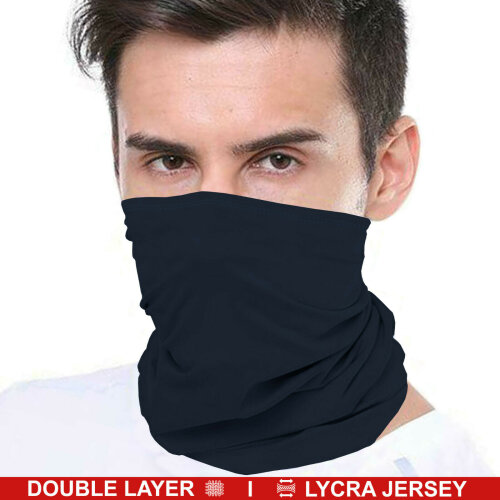 (Navy (Double Layer)) Bandana Face Covering Mask Biker Tube Snood Scarf Neck Cover