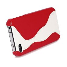 Hoco Leather Case With Screen Protector For iPhone 4 - White And Red