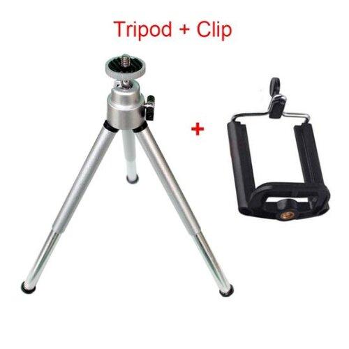 (SILVER KIT) Tripod Mini Tripod stand Aluminum Tripod+Clip