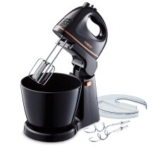 Tower T12039 Stand Mixer, 2.5 Litre Plastic, 3000W, Black/Rose Gold