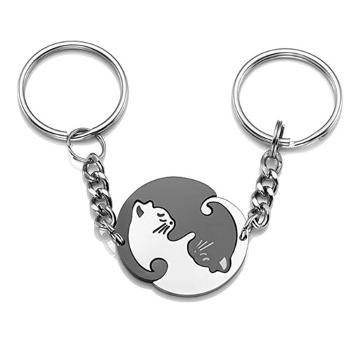 UMtrade 2Pcs Stainless Steel Yin Yang Matching Puzzle Cat Dog Couples Pendant Keychain for Loves Black Silver
