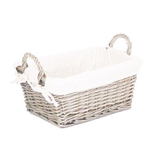 (Large) Antique Wash Wicker Handled Lined Storage Basket
