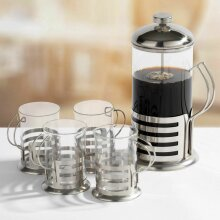 Stainless Steel 1L French Press Coffee Cafetiere With 4 Cup Mug Glasses Gift Set