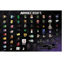 GB eye LTD Minecraft Pixel Sprites Maxi Poster 61.91.5cm, Wood, Various, 65 x 3.5 x 3.5 cm