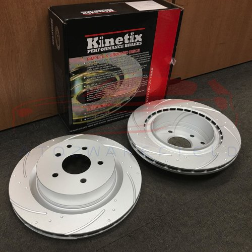 FOR NISSAN 350Z INFINITI G35 REAR KINETIX DIMPLED GROOVED BRAKE DISCS SET 322mm