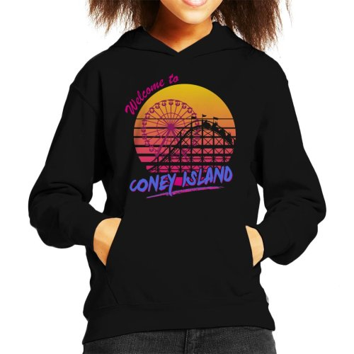 Welcome To Coney Island Retro 80s Kid's Hooded Sweatshirt