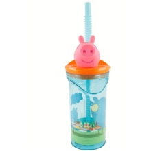Peppa Pig Kids 3D Figurine 360ML Drinking Tumbler  & Expandable Straw