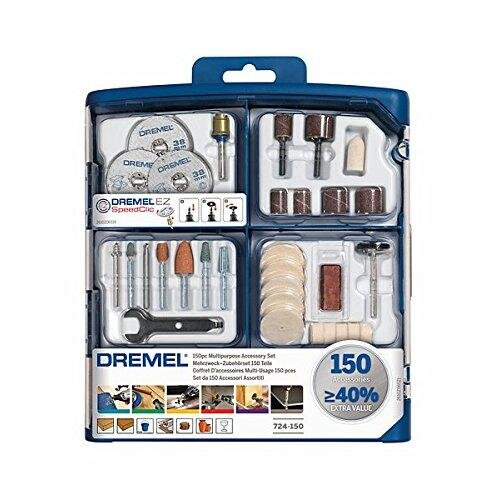 Dremel 724 EZ SpeedClic Multi Purpose Tool Accessory Set for Rotary Tools - 150 Accessories for Cutting, Carving, Sanding, Cleaning, Grinding, Polis