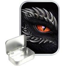 Black Dragon Eye 30ml Silver Hinged Tobacco Tin, Gift Tin