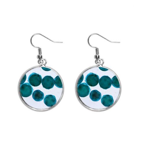 Blue Creature Cell Picture Pattern Ear Dangle Silver Drop Earring Jewelry Woman