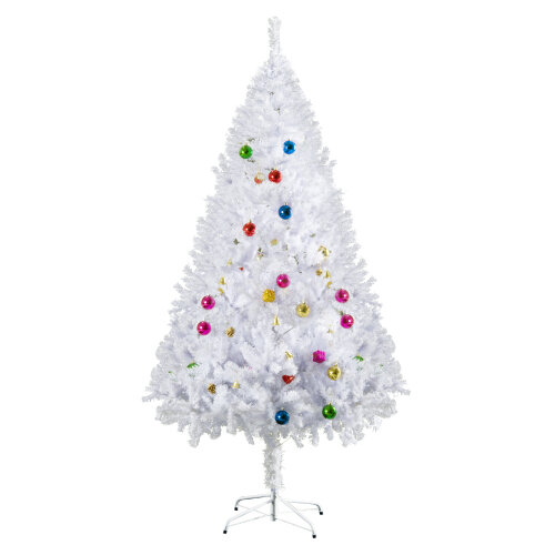 HOMCOM 5ft Snow Artificial Christmas Tree w/ Metal Stand Decorations Home White