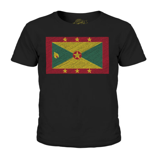 (Black, 9-10 Years) Candymix - Grenada Scribble Flag - Unisex Kid's T-Shirt