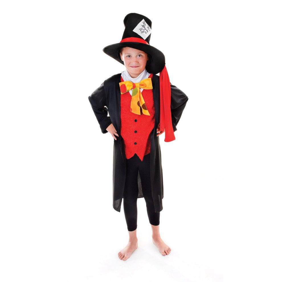 134cm Boys Mad Hatter Costume Hatter Mad Boys Fancy Dress Costume Book Week Alice Wonderland Day Fancy Dress Boys Mad Hatter Costume Kids Child On Onbuy