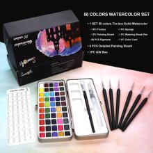 Solid Watercolor Paint Set, Portable Metal Box for Beginner Drawing
