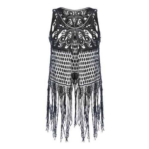Vintage Crochet Fringe Vest - Festival wear, Hippy, 70s, Vintage, one Size Regular