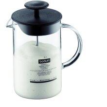 Bodum 1446-01 Latteo Milk Frother, Borosilicate Glass - 0.25 L, Black/ Transparent
