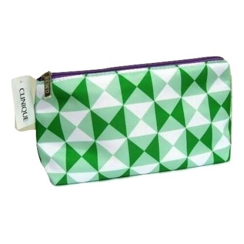 Clinique Triangle Print, Green & White Patterned Make Up Bag