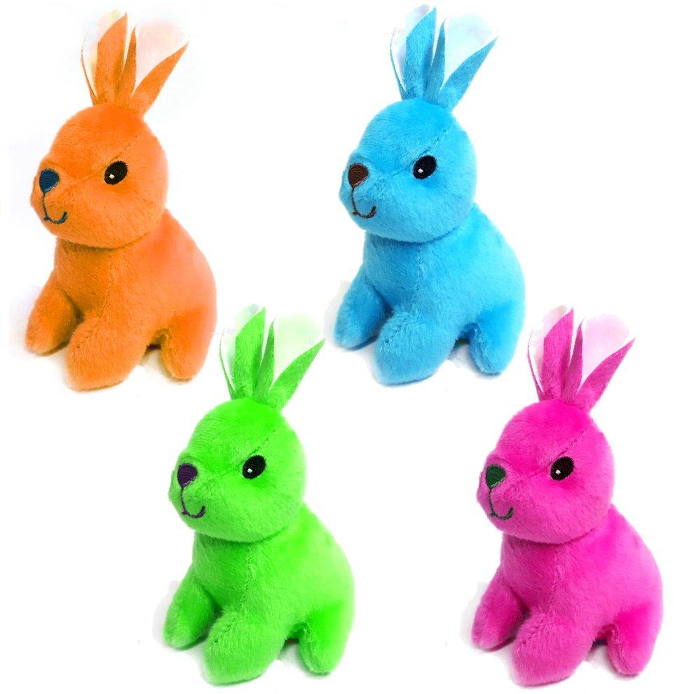 4 Bright Colourful 13cm Bunny Rabbit Cuddly Soft Toys