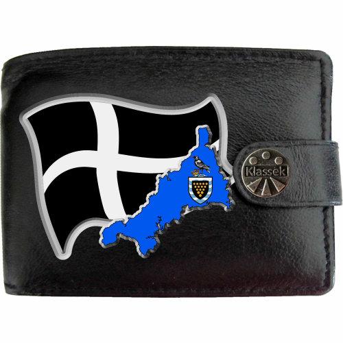Cornwall Flag Cornish Map COA Mens Wallet Chain Leather Coin Pocket Klassek RFID Blocking Credit Card Slots and Metal Gift Box