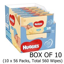 Huggies Pure Baby Wipes - Pack of 10 (10 x 56 Packs, Total 560 Wipes) 99 percent pure water Hypoallergenic with no perfume