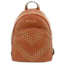 Michael Kors Backpack Bag Luggage Brown Abbey Chevron Studded Leather Medium