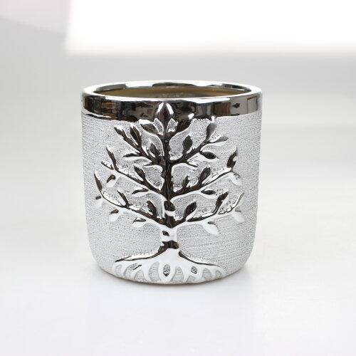 Silver Art Plant Pot Tree of Life Decorative Ornament Flower Vase