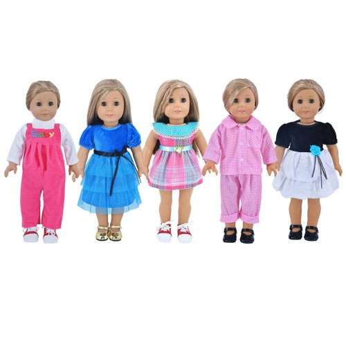 Vintage Grids Dress Doll Clothes For 16 Inch High Simulation Baby 35-40cm