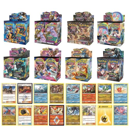 324pcs/box Card Sun Moon Hidden Fates English Evolutions Booster Collectible Trading Game