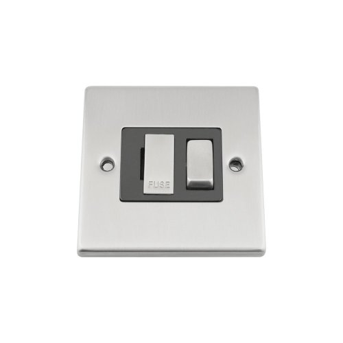 Switched Fused Spur Switch - Satin Chrome - Square - Black - Metal Rocker Switch - 13 Amp