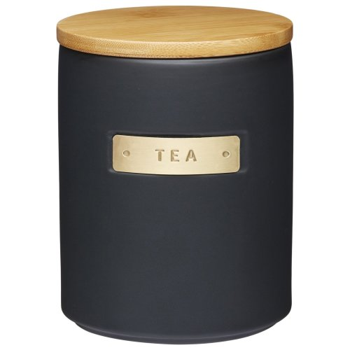 KitchenCraft MasterClass Airtight Stoneware and Brass-Effect Tea Storage Canister, 1 Litre