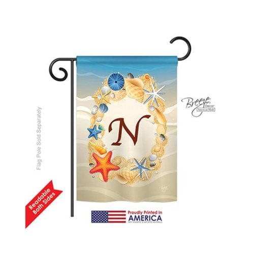 Breeze Decor 80170 Summer N Monogram 2-Sided Impression Garden Flag - 13 x 18.5 in.