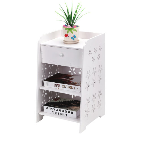 (Flowers) Bedside Table Cabinet Chest of Drawers Nightstand
