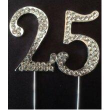 25TH BIRTHDAY SILVER CAKE TOPPER DECORATION 25 TH WEDDING ANNIVERSARY